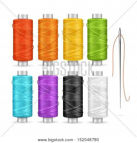 Thread Spool Set. Equipment for Dressmakers. Vector illustration
