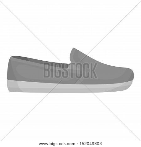 Moccasin icon in monochrome style isolated on white background. Shoes symbol vector illustration.