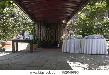 FLORENCE, ITALY - MAY 21 2016: Welcome coktail set up in a restaurant on Florentine hills nobody around