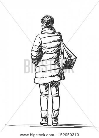 Sketch of woman wearing down jacket, Hand drawn illustration