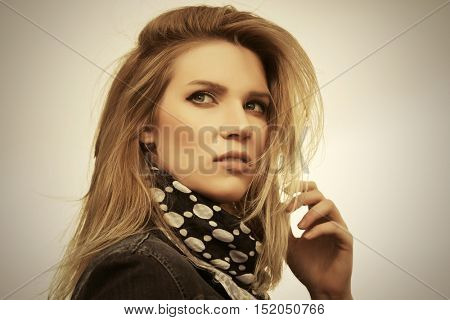 Portrait of young woman outdoor. Fashion stylish model