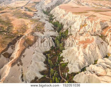 Arial view of Cappadocia landscape in Turkey.