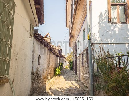 Sirince Selcuk Turkey - Septermber 13 2016: View of vintage alley of Sirince town.