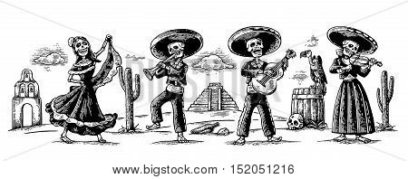 Day of the Dead Dia de los Muertos. The skeleton in the Mexican national costumes dance sing and play the guitar violin trumpet. Griffin on barrel with skull cactus.Vector vintage engraving