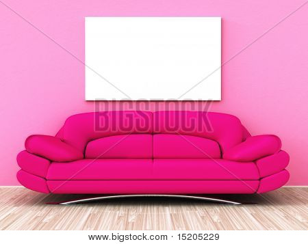 A powerful pink sofa with a white blank picture on the wall