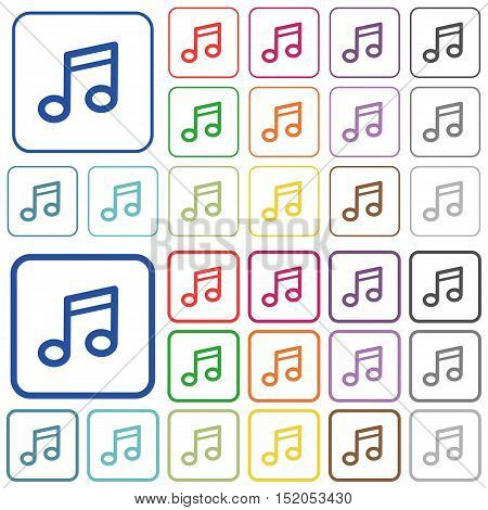 Set of music note flat rounded square framed color icons on white background. Thin and thick versions included.