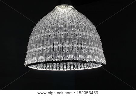 MILAN, ITALY - APRIL 15 2015: Close up of luxury blown glass chandelier during Milan Design Week
