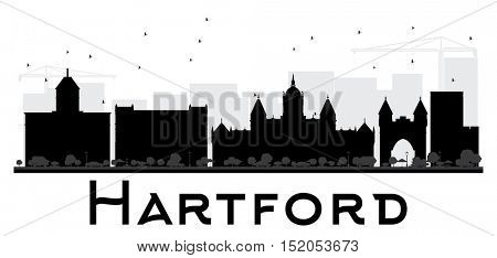 Hartford City skyline black and white silhouette. Vector illustration. Simple flat concept for tourism presentation, banner, placard or web site. Business travel concept. Cityscape with landmarks
