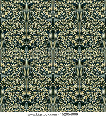 Damask seamless pattern repeating background. Greenish floral ornament in baroque style.