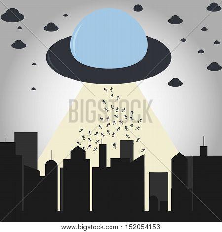 Alien Invasion Flat Cartoon Illustration. Isolated. Simple.
