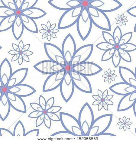 Abstract flowers pattern on a white background