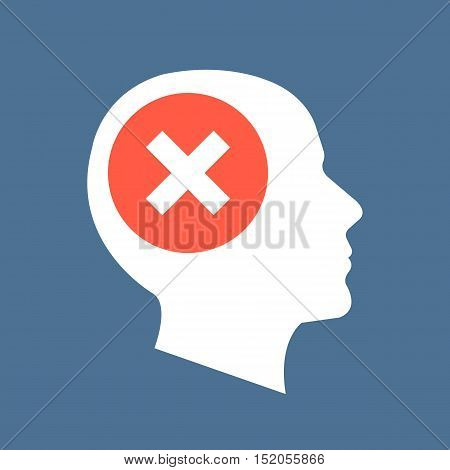 White human head silhouette and red checkmark icon. Cross in red circle. Abstract concept. Flat design vector illustration isolated on dark blue background