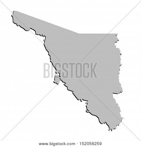3D Sonora Mexico State Outline Grey Map