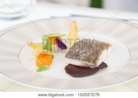 Minimalistic Dish Fish With Vegetables