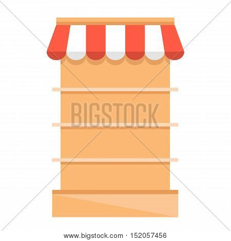 Retail store shelves with red awning. Grocery store equipment. Flat vector illustration