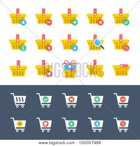 Yellow shopping baskets and white shopping carts and trolleys icons set. Ecommerce, online store, e-commerce, internet shopping concepts. Flat design graphic for web and mobile apps. Vector icons set