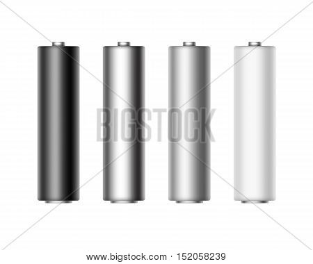 Vector Set of White Black Gray Metalic Glossy and Matt Alkaline AA Batteries Of Diffrent Color for branding Close up Isolated on White background