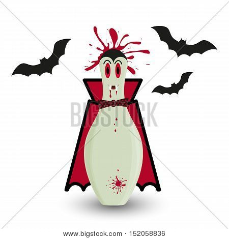 Stylized vector halloween skittle in costume of vampire. Male skittle vampire with blood splash and black bats silhouettes.