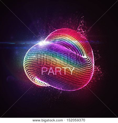 3D abstract loop shape of rainbow illuminated particles with lens flare optical light effect. Futuristic vector illustration. Disco party. Vector illustration. Gay friendly or LGBT event