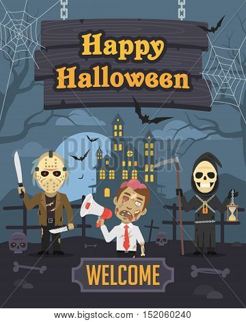 Vector Illustration, Illustration Halloween Zombie Death Maniac, Format EPS 8