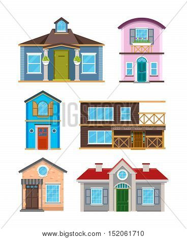 Modern residential building houses cartoon vector collection. Architecture home cottage and exterior residence color illustration
