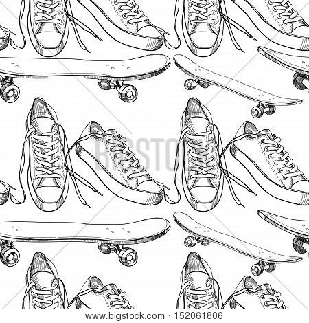 Vector illustration of Sport shoes with  skateboard seamless pattern, wrapping paper, wallpaper for teenager. Printable graffiti.Hand drawn doodle design