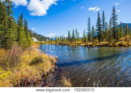 Beautiful Lake Vermilion in the mountains of Banff Park. Autumn forest, mountains and lakes. The Canadian province of Alberta. Concept of active tourism and ecotourism