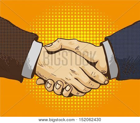 Businessmen shake hands vector illustration in retro pop art style. Partnership handshake concept poster in comic design.