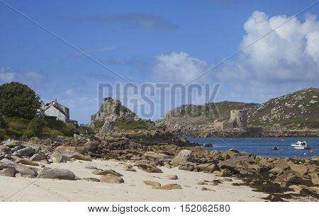 Cromwells Castle from Bryher, Isles of Scilly, England