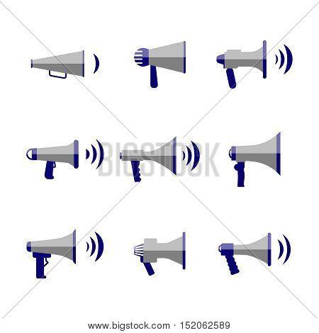 Bullhorn and megaphone, communication, sound, loudspeaker vector flat icons set. Music reproducer illustration