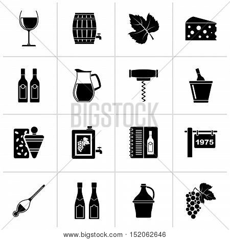 Black Wine industry objects icons -vector icon set