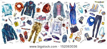 Watercolor fashion illustration. set of trendy look, watercolor