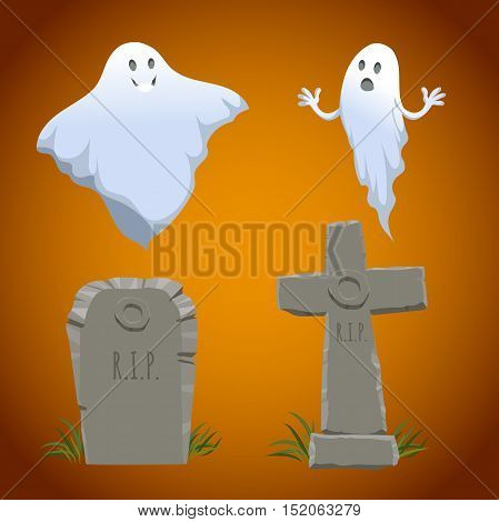 Cartoon halloween icons set. Old looking christian cross tombstone simple tombstone and two type of ghosts. Halloween vector symbols.