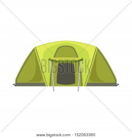 Large Green Bright Color Tarpaulin Tent. Simple Childish Vector Illustration Isolated On White Background
