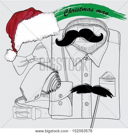Vector illustration of Hand drawn Christmas style, doodle coordination for New yaer Man. Folded shirt , the bow tie, beards, Santa hat, the bow tie and belt. Santa set on white background. Template for masquerade, holiday, brochure, journal, flayer