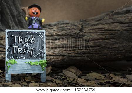 trick or treat board with pumpkin head jack in halloween night