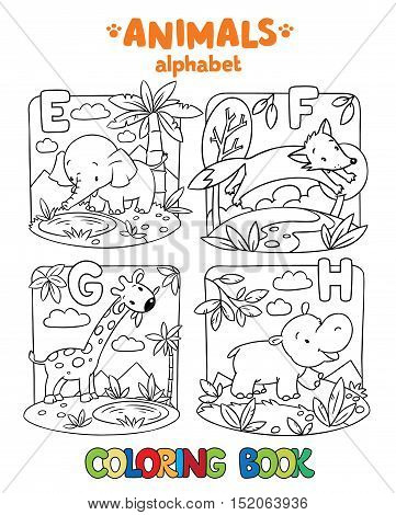Coloring book or coloring picture of funny elephant, fox, hippo and giraffe. Animals zoo alphabet or ABC.