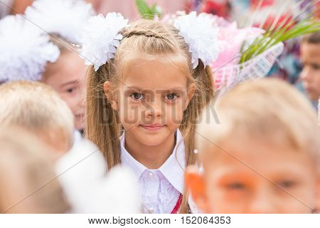 First Grader Close-up In A Crowd Of Children On Line The First Of September