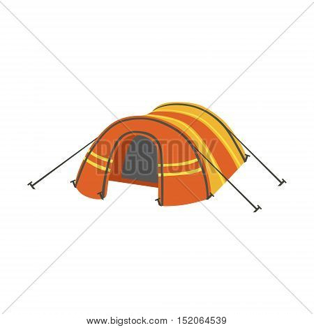 Arched Orange Bright Color Tarpaulin Tent. Simple Childish Vector Illustration Isolated On White Background