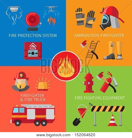 Firefighting inventory and fire rescue concepts. Business and house fire safety vector illustration