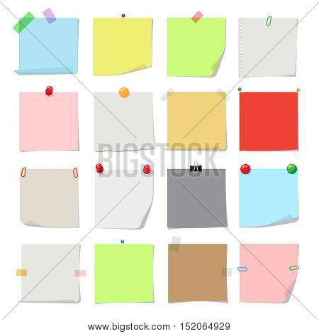 Note paper set. Vector notes, post memo papers isolated on white background
