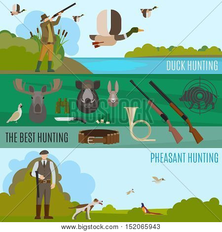Hunting banners. Vector wild birds and animals hunting vector illustration