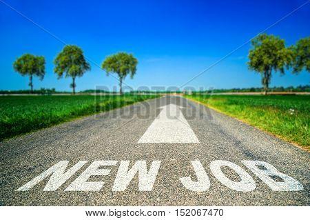 New Job Word Painted On Asphalt Road