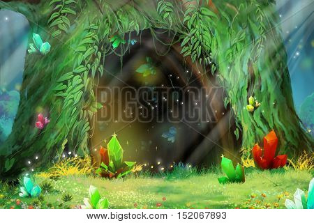 Mystery Tree Hole. Video Game's Digital CG Artwork, Concept Illustration, Realistic Cartoon Style Background