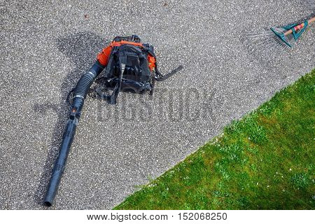 Houilles, France - April 08, 2014 : close up of gas blower in a park