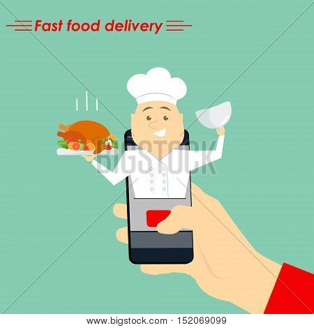 Internet cook. The concept of e-commerce: online food ordering website. Fast food delivery service online courses. Flat vector illustration.