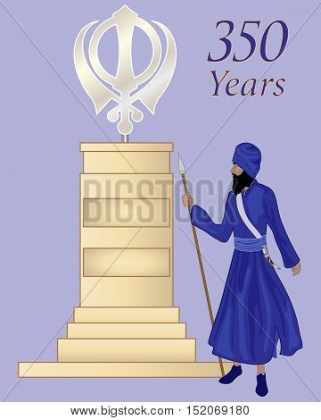 an illustration of a sikh monument with symbol on a stone column in greeting card format with traditionaly dressed guard on a purple background