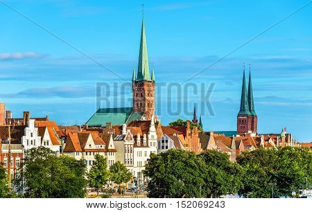 Skyline of Lubeck with St. Peter's Church and Lubeck Cathedral - Germany