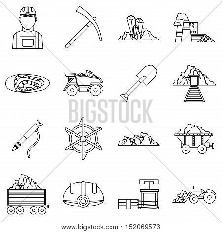 Miner icons set. Outline illustration of 16 miner vector icons for web