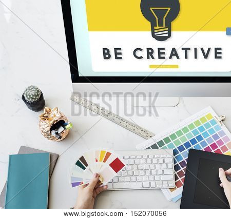 Be Creative Graphic on Monitor